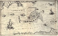 Samuel de Champlain's 1613 map,  Isle de sainte Croix.  Red beach Cove upper left