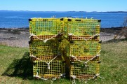 Lobster traps at water's edge.